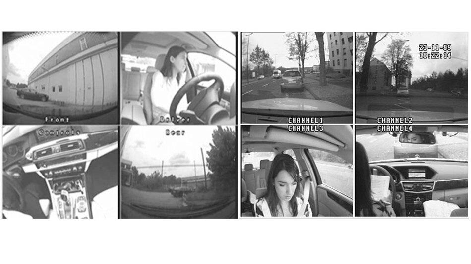 Bild 2. In jedem Fahrzeug zeichnen vier Kameras das Fahrgeschehen auf. Das linke Standbild des Fahrvideos stammt aus einem BMW, das rechte aus einem Mercedes.