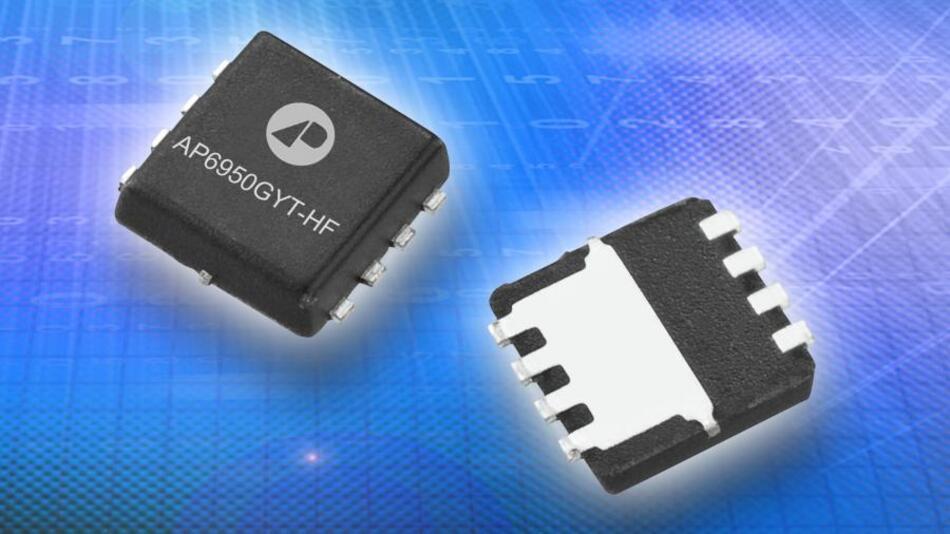 Chip-Bilder sind in aller Regel langweilig, aber bei dieser Abbildung ist zu erkennen, mit welcher konstruktiven Maßnahme  der thermische Wiederstand des Low-Side-MOSFETs auf die Hälfte gedrückt werden konnte: mit einer entsprechend großen Kühlfahne.