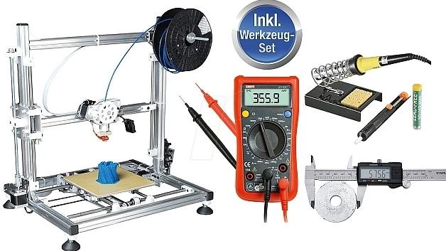 Den kompletten Bausatz eines 3D-Druckers samt Löt- und Messgerät gibt es bei Reichelt Elektronik bereits ab 699 Euro