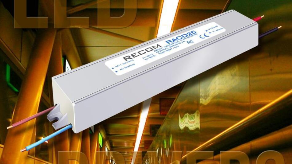 Die LED-Treibermodule der RACD-25-Serie entsprechen der Schutzklasse IP65, sie können daher in feuchten Räumen und im Außenbereich montiert werden.
