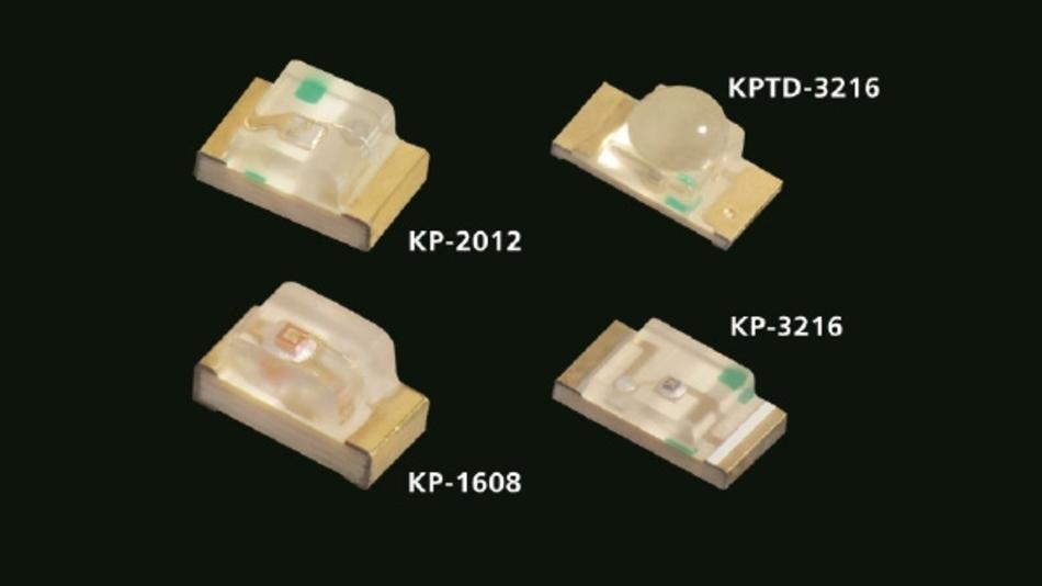 Die hell leuchtenden grünen InGaP-LEDs sind in den unterschiedlichsten Bauformen erhältlich; hier eine Auswahl von SMD-LEDs.