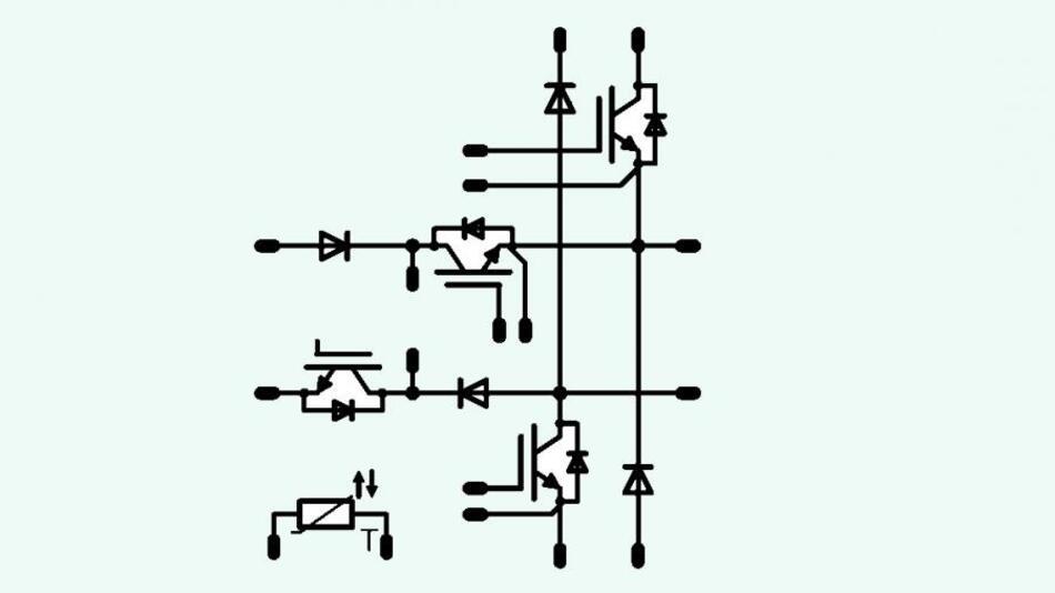 Die »Mixed-voltage Neutral Point Clamped« ermöglicht die Verwendung von IGBTs, deren Sperrspannung niedriger ist als die anliegende Gleichspannung.