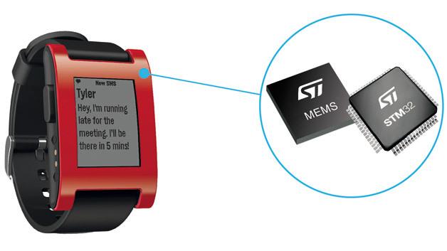 Der energieeffiziente Mikrocontroller STM32 kommt künftig in der Smartwatch Pebble zum Einsatz und soll für eine ausdauernde Akkulaufzeit sorgen.