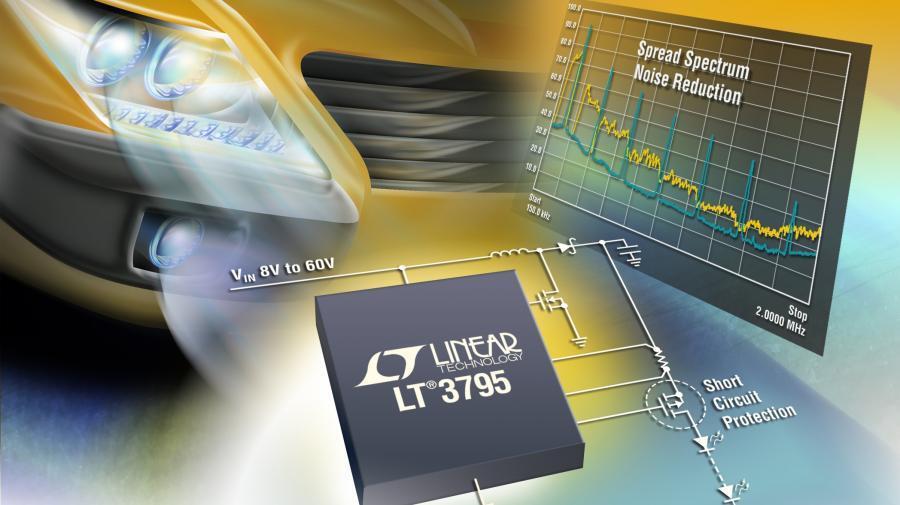 Der LED-Controller »LT3795« bietet einen weiten Eingangsspannungsbereich und minimiert die für einen Schaltregler typischen Störungen durch einen Oszillator, dessen Frequenz sich in einem weiten Bereich einstellen lässt.