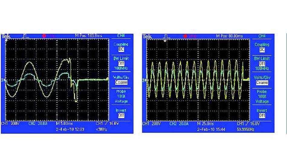Bild 6: Trennung der Wechselrichter-Verbindung mit nicht abgeglichener (links) und abgeglichener Last (rechts)