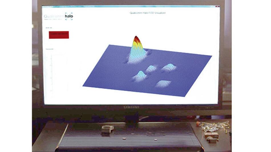 Foreign Object Detection: Das Diagramm zeigt, wie das Halo-System metallische Gegenstände auf der Ladeplatte erkennt. Dabei erfasst es nicht nur die Lage, sondern auch die Größe der Objekte.