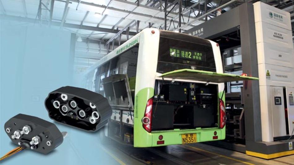 Bild 3. DC-Ladestecksystem für Nutzfahrzeuge. Dieses ist beispielsweise in elektrisch angetriebenen Bussen in Quingdao, China, im Einsatz.
