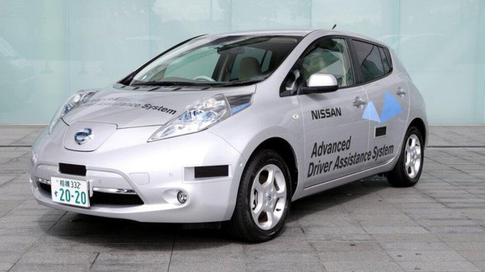 Nissan Leaf: Testfahrzeug für autonomes Fahren.