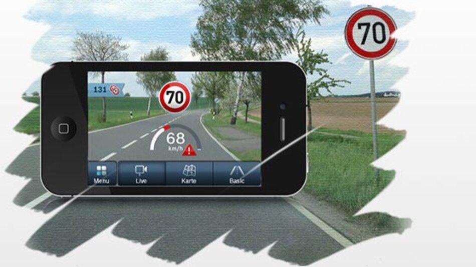 """Die iPhone-App """"MyDriveAssist"""" von Bosch erkennt Verkehrszeichen."""