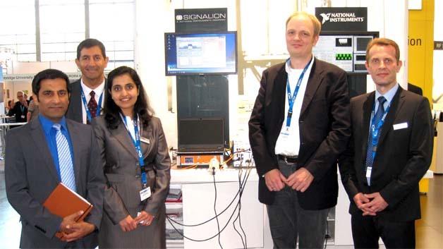 Sehen die Signalion-Übernahme übereinstimmend positiv alsTop-Synergie im HF-Messtechnik-Sektor (v. links): Rahman Jamal, Jin Bains und Nisha Ganwani (National Instruments) sowie Dr. Tim Hentschel und Udo Dehne (Signalion)