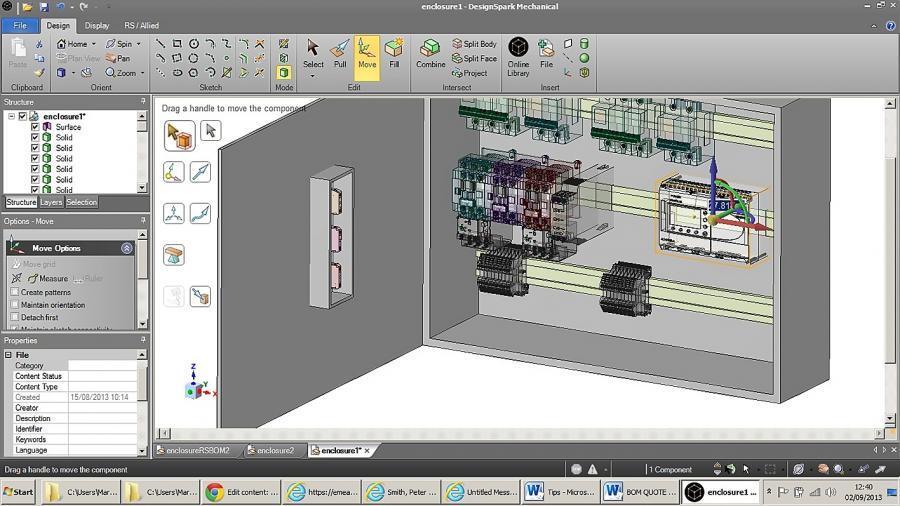 Ein mit Hilfe von DesignSpark Mechanical erstellter Schaltschrankentwurf