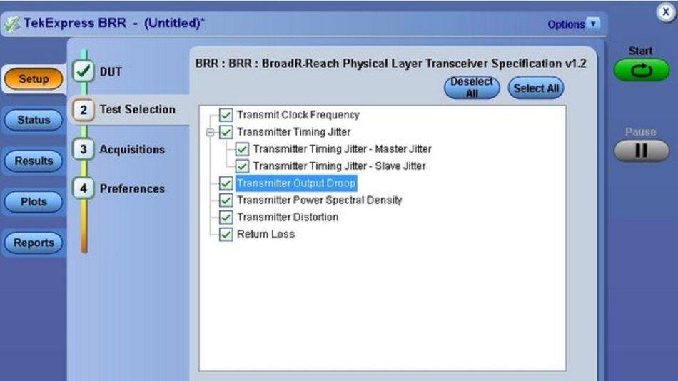 BroadR-Reach-Testoption für Tektronix-Oszilloskope.