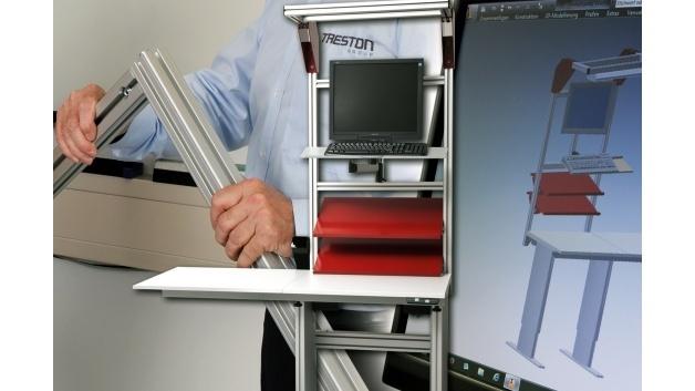 Die professionelle Arbeitsplatzkonzeption mit Aluminium Engineering von Treston orientiert sich zu 100 Prozent an der Praxis.