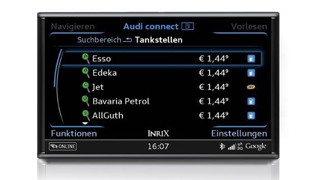 Via Audi connect lassen sich nun auch die aktuellen Kraftstoffpreise per Tastendruck anzeigen.