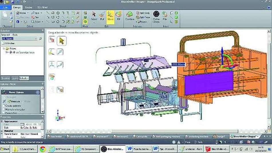 Bild 1: Auch unerfahrene Anwender können mit dem 3-D-CAD-Tool »DesignSpark Mechanical« über wenige, einfache Befehle selbst umfangreiche mechanische Systeme konstruieren