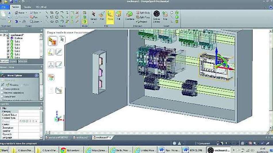 Bild 2: Auch für den dreidimensionalen Entwurf von Installations- und Schaltschränken eignet sich das Softwarewerkzeug »DesignSpark Mechanical«