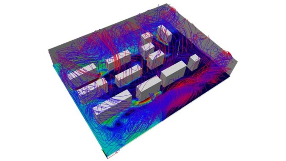 Wärmeflusssimulation in einem Rechenzentrum. Solche Simulationen sind vom Rechenaufwand äußerst aufwendig.