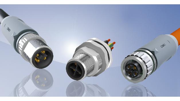 M12x1 Power-Steckverbinder und Einbauflansche mit S- und T-Codierung