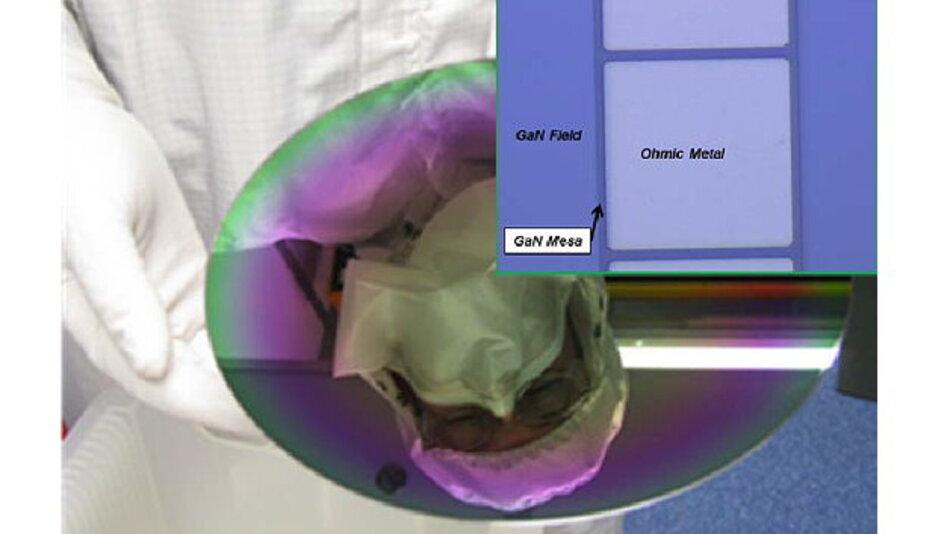 Bild eines mithilfe von MBE auf einem 200-mm-Si-Wafer aufgewachsenen GaN-HEMT. Rechtsoben eingefügt ist ein Gold-freier ohmscher Kontakt auf einem 200-mm-Wafer in einer Si-Foundry.