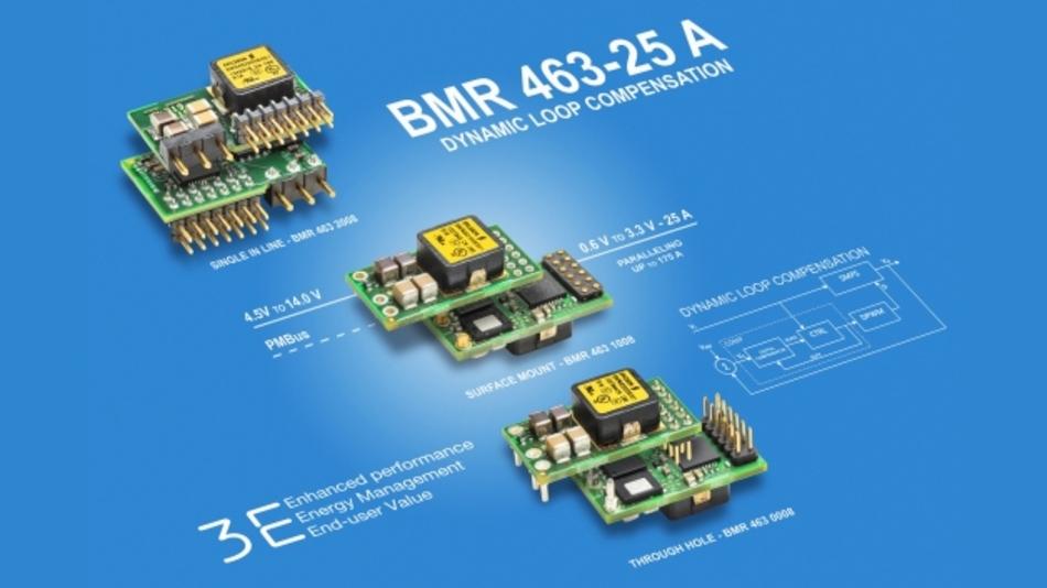 Die PoL-Module »BMR463-25A« sind in drei Versionen erhältlich: für die Durchkontaktierungsmontage, für die SMD-Montage und als »Single in line«-Modell.