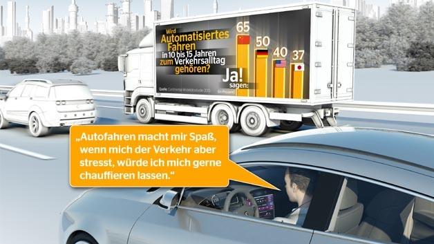 Das Auto als Chauffeur? Der deutsche Autofahrer ist dem nicht abgeneigt.