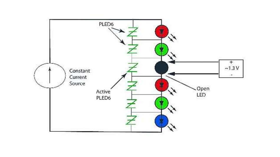 Bild 2: Parallelschaltung eines »PLED«-Schutzelements gegen offene Kontakte an jeder LED eines Strangs