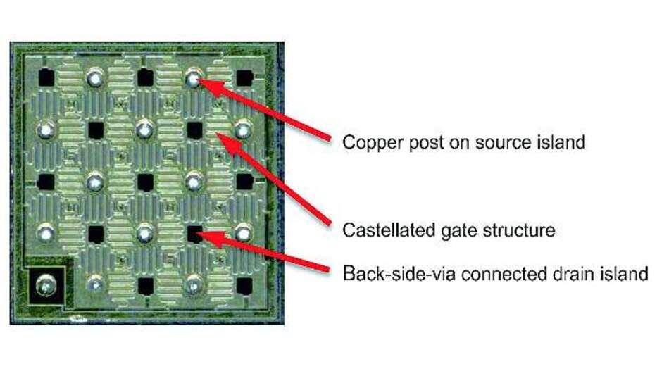 Bild 1: Besondere Chipstruktur der GaN-HEMTs von GaN Systems