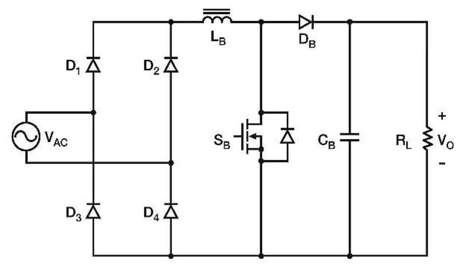 Bild 1: Herkömmliche Eingangsstufe eines Schaltnetzteils mit Brückengleichrichter und PFC-Boost-Wandler