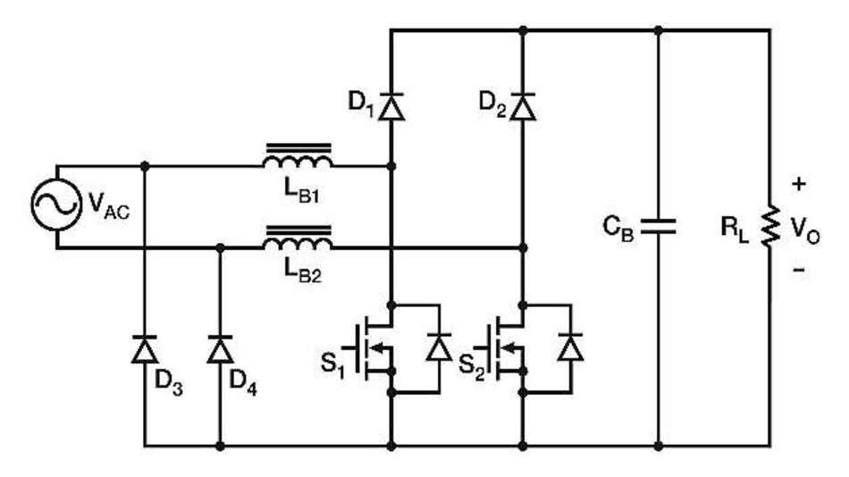 Bild 2: Brückenlose PFC-Schaltung mit zwei DC/DC-Boost-Schaltkreisen