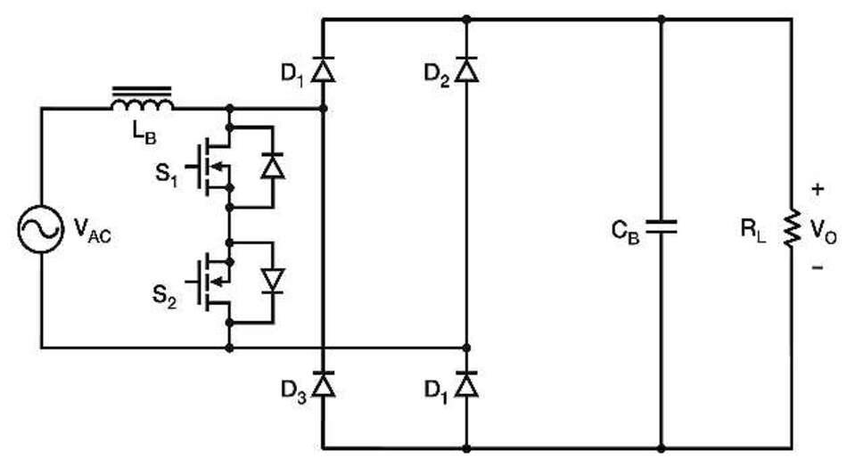 Bild 3: Brückenlose PFC-Schaltung mit bidirektionalem Schalter