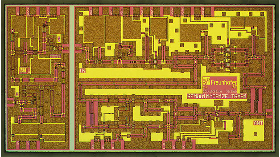 Bild 1. 96-GHz-FMCW-Radar mit Rekord-Frequenzhub von 6 GHz: alle Mikrowellen-Komponenten auf einem 4 × 2 mm² großen Chip.