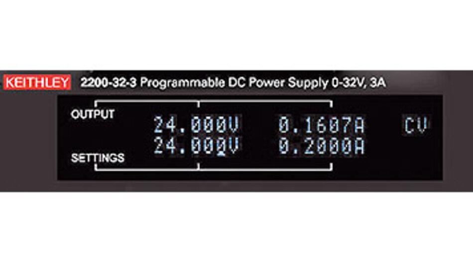 Bild 2. Die niederwertigste Stelle auf dem oberen Display entspricht bei den Geräten der Serie 2200 von Keithley einer Rücklese-Auflösung von 1 mV und 0,1 mA. Die niederwertigste Stelle auf dem unteren Display entspricht der Einstellauflösung.