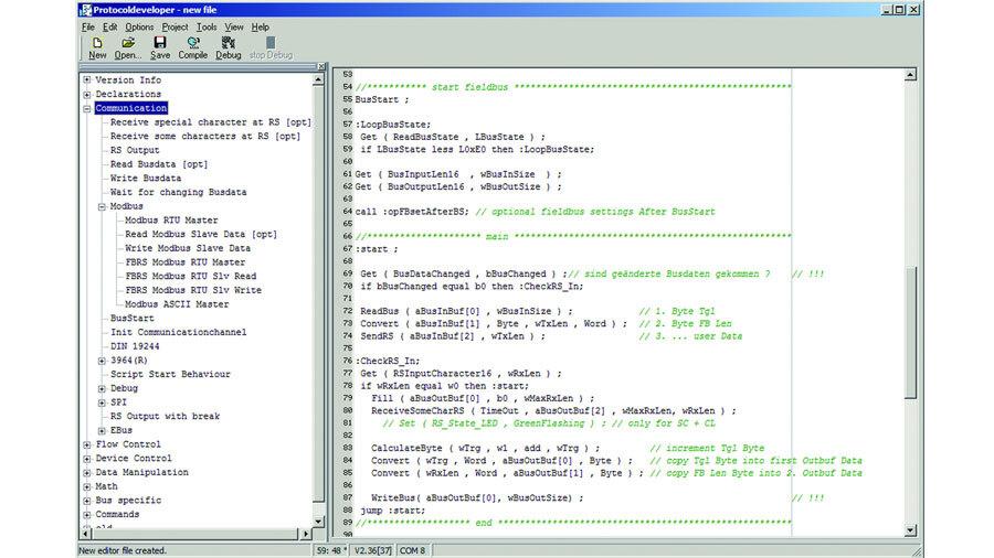 Oberfläche des kostenlosen Protocol Developer