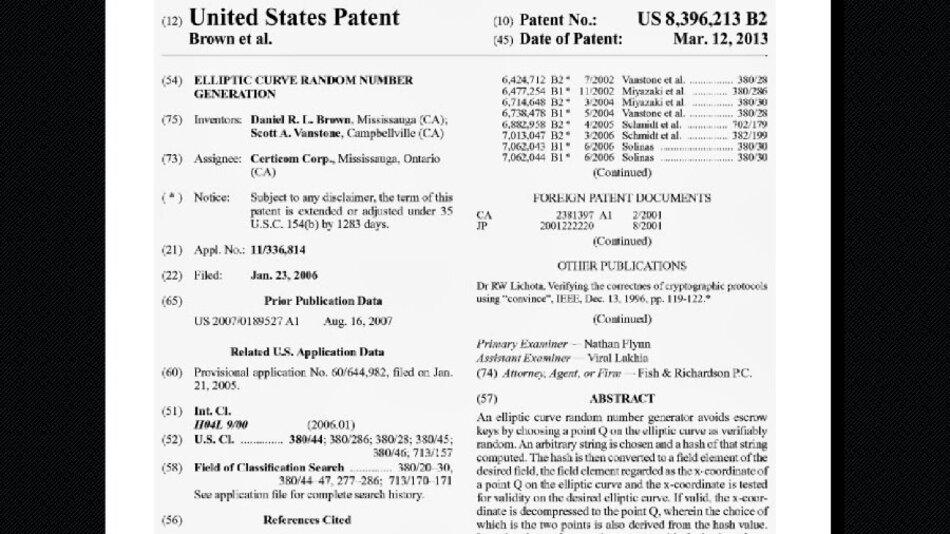 Das Patent der Blackberry-Tocher Certicom beschreibt den Zufallszahlengenerator Dual_EC_DRBG, der von der NSA entwickelt worden sein soll.