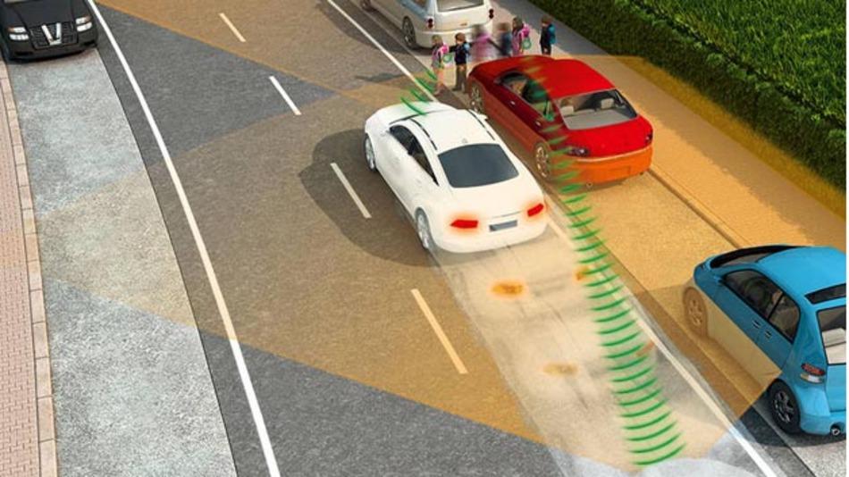"""Das im Rahmen des Forschungsprojektes """"Kooperative Transponder"""" entwickelte Sensorsystem berechnet die Bewegung anderer Verkehrsteilnehmer voraus."""