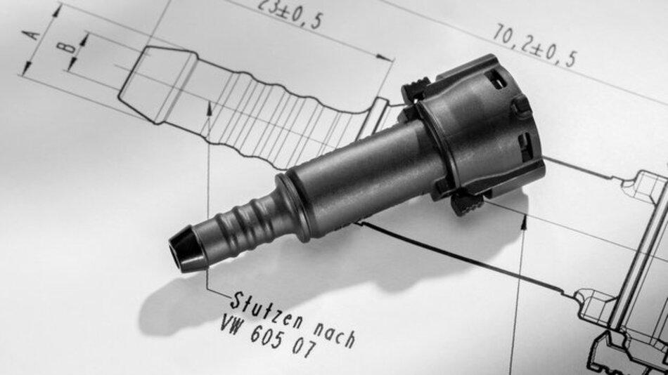 Kunststoff statt Metall: Die neue Kraftstoff-Schnellkupplung war eine Idee von zwei VW-Mitarbeitern.