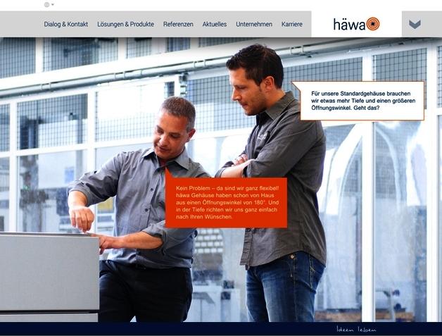 Neugestaltete Webseite von häwa