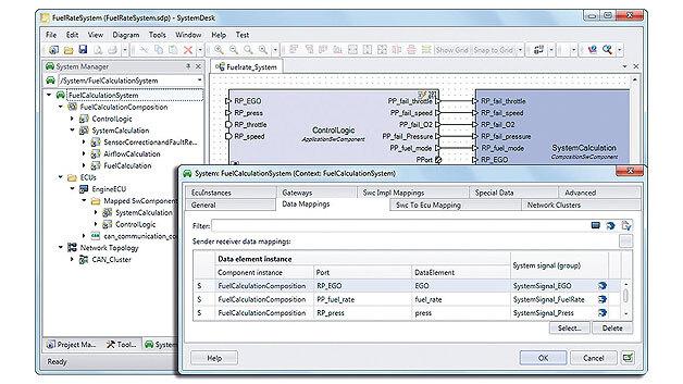 Bild 2. Verschiedene Zugänge zu den AUTOSAR-Daten in SystemDesk 4.1 (Projektbaum, Komponentendiagramm, Dialog mit Mapping-Editor)
