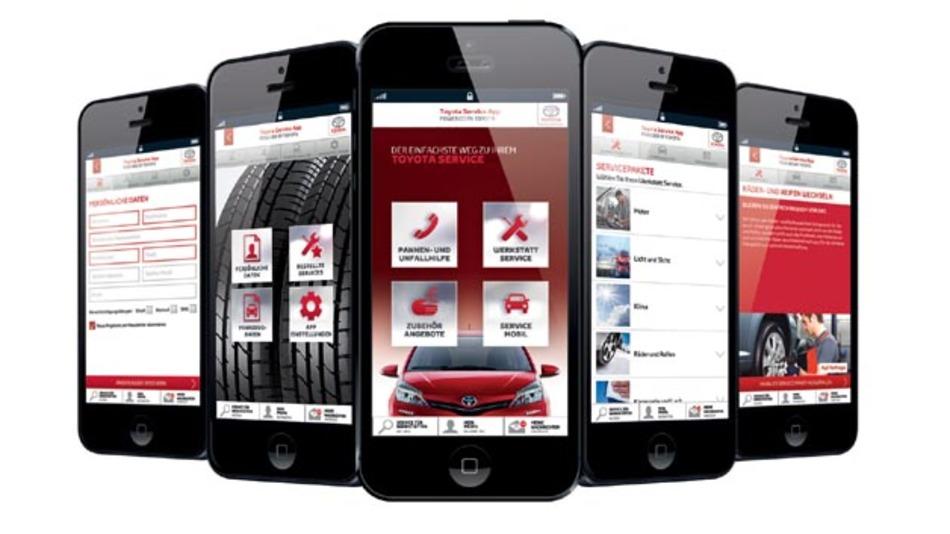 Mit der Service-App von Toyota können Toyota-Fahrer einfach per Smartphone oder Tablet einen Werkstatttermin vereinbaren.