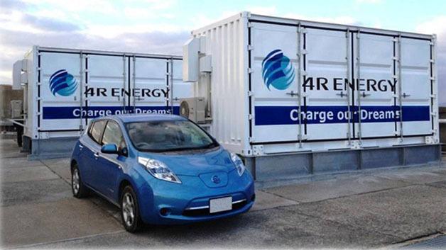Ein Nissan Leaf vor den Containern, in denen sich die Solarstromspeicher befinden.