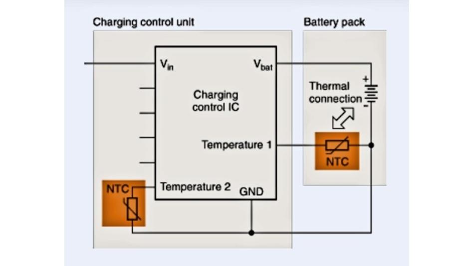 Prinzipschaltbild einer Ladeüberwachung mit NTC-Thermistoren