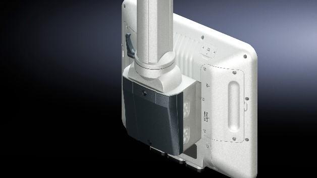 Mit Rittals Anschlusskonsole VESA 75/100 lassen sich Bildschirme schnell an das Tragarmsystem CP 40/60/120 montieren.