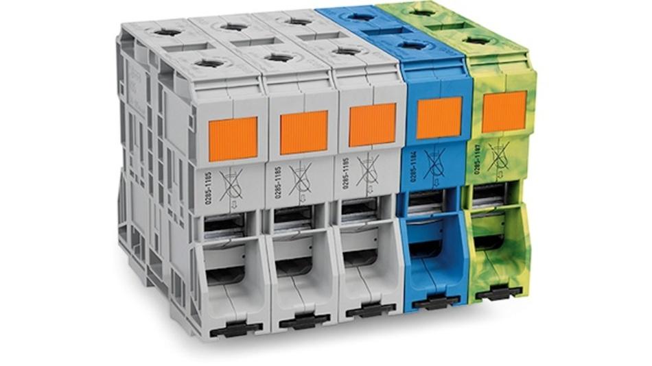 Mit der Hochstrom-Federklemme (285-1185) können Leiter mit Querschnitten von 50 mm² bis 185 mm² schraubenlos angeschlossen werden.