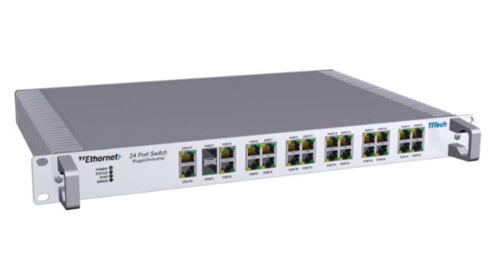 """TTTech hat seinen 24-Port-TTEthernet-Switch (Formfaktor 19"""") für den Einsatz in sicherheitskritischen Echtzeit-Anwendungen entwickelt."""