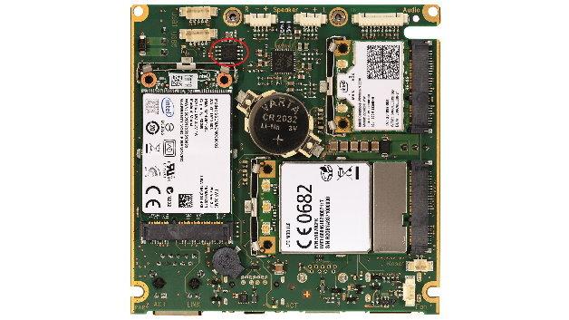 """Auf der Trägeplatine der neuen """"QSys""""-Plattform von TQ ist ein Security-Chip von SafeNet (rote Ellipse) zu finden."""