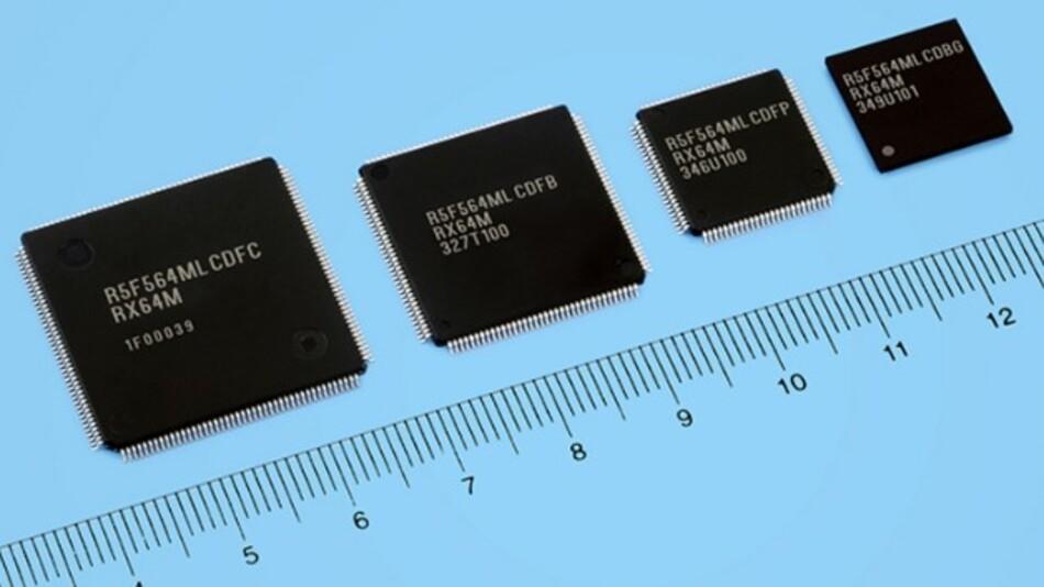 Die neuen RX64M-Mikrocontroller von Renesas Electronics basieren auf einem 40-nm-Prozess und kommen dank dieser Strukturen und einem verbesserten Prozessorkern auf einen Coremark von 504 oder auf 240 DMIPS bei 120 MHz.