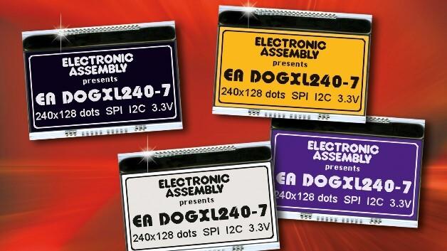 Stromsparend ist Electronic Assemblys kompaktes Grafikdisplay EA DOGXL240-7 mit 240 x 128 Pixel.