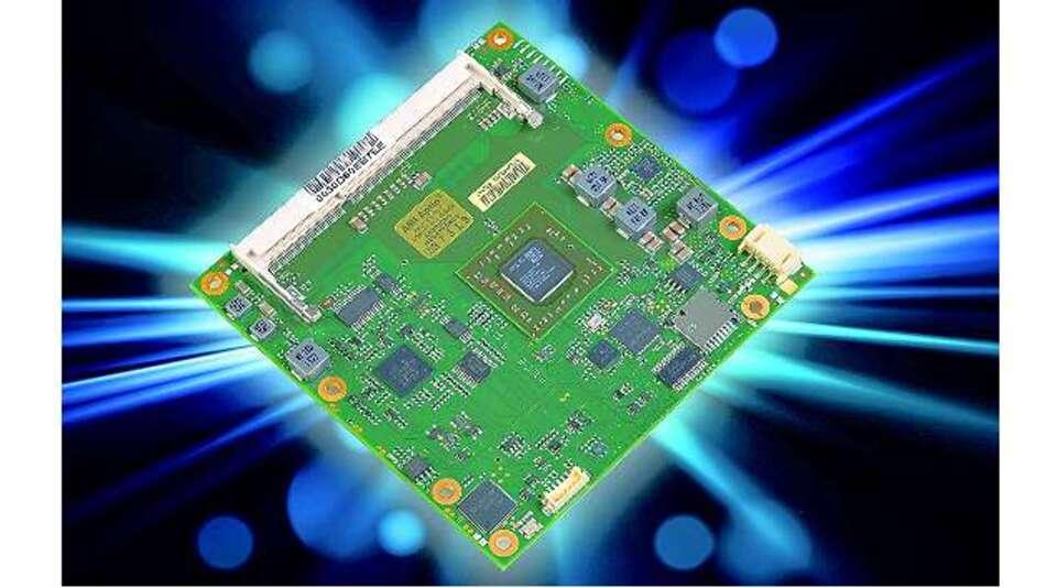 Bild 1: Die COM-Express-Modulfamilie »C6C-GX« arbeitet mit der SoC-Platt-form »Embedded G-Series« und bietet trotz vergleichsweise niedriger Verlustleistung angemessene Grafik- und Multimedia-Leistung
