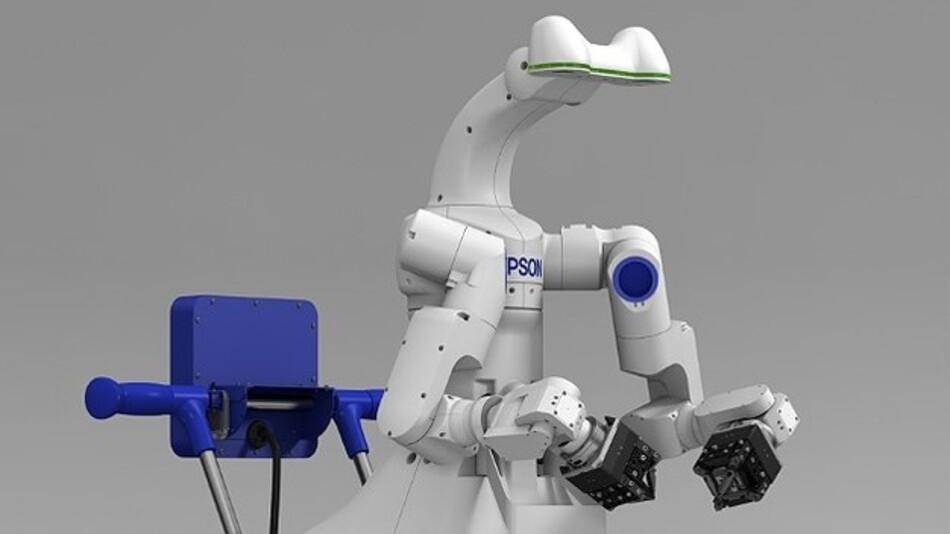 Eine gewisse Ähnlichkeit mit unserer Spezies ist nicht von der Hand zu weisen: Der neue Zweiarm-Roboter von Epson.