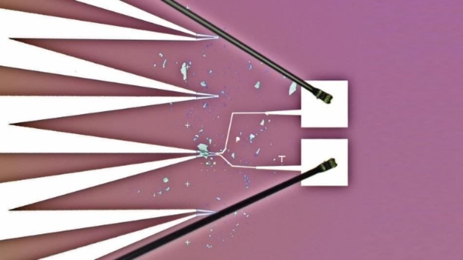 Mikroskopbild von Wolframdiselenid-Proben mit Elektroden-Anschluss